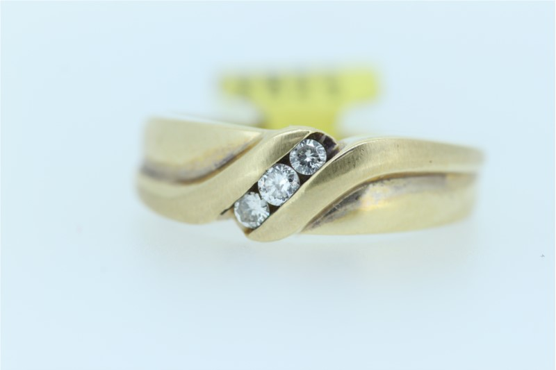 Wedding Band - Gent's Yellow 14 Karat Wedding Band With 3= Round Diamonds