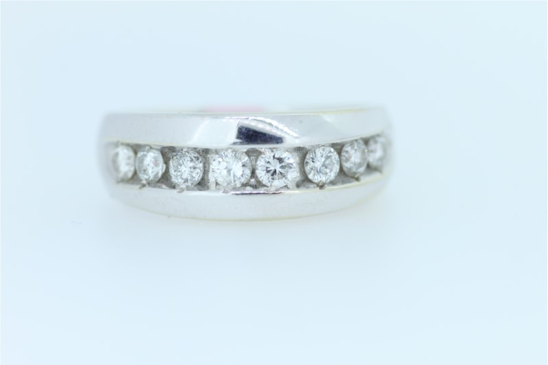 Wedding Band - Gent's White 14 Karat Channel Set Wedding Band With 8=1.00Tw Round Diamonds