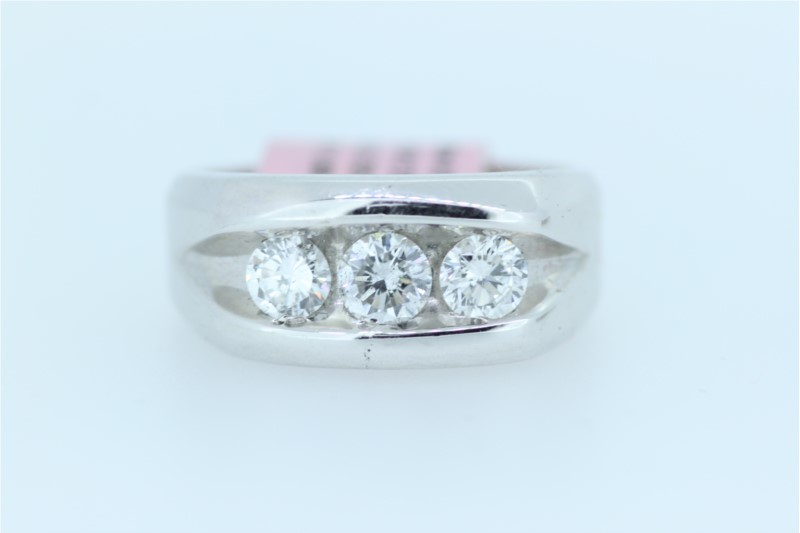 Wedding Band - Gent's White 14 Karat Channel Set Wedding Band With 3=1.00Tw Round Diamonds
