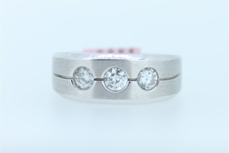 Wedding Band - Gent's White 14 Karat Satin Wedding Band With 3=0.75Tw Round Diamonds
