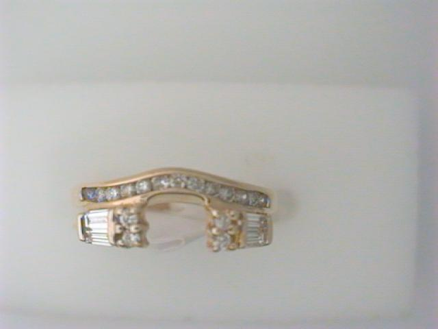 Ring Wrap - Lady's Yellow 14 Karat Ring Wrap With 17= Round Diamonds And 4=0.35Tw Baguette Diamonds