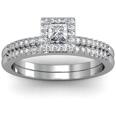 Diamond Wedding Set - Lady's White 14 Karat Diamond Wedding Set With One 0.25Ct Princess Diamond And 32 Round Diamonds in Engagement ring and 19 Round Diamonds in Wed Ring=0.25 Ct Tw Round Diamonds