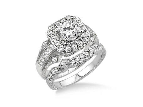 Diamond Wedding Set - Lady's White 14 Karat Diamond Wedding Set With One 0.35Ct Princess Diamond And 30=0.25Tw Various Shapes (10=Princess Cut and 20=Round Brilliant) Diamonds, The band has 17=Round Brilliant Diamonds.