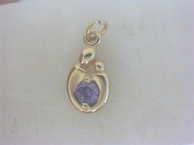 Pendants - Lady's Yellow 14 Karat Mother/Child February Pendants With One Round Purple synthetic Amethyst