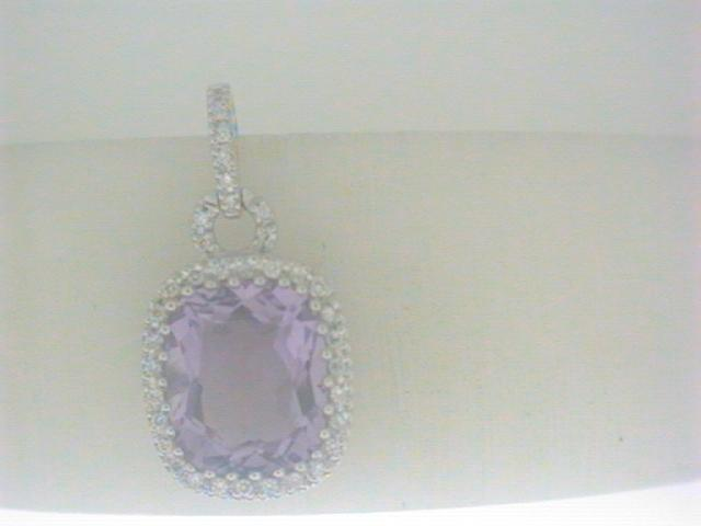 Pendants - Lady's White 18 Karat Pendants With One 4.80Ct Cushion Amethyst And 36=0.17Tw Round Diamonds
