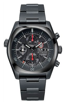 Watches - Luminox, 9082 SR-71, Automatic Chronograph, 44mm, black Carbon Fiber Dial, IP Black Sandblasted Stainless Steel Case, 10 ATM, Sapphire Crystal, IP Black St/Steel Bracelet With Signature Buckle.