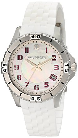Watches - Ladies Wenger Swiss- Made White Mother of Pearl Dial with Pink Number and White Silicone Band