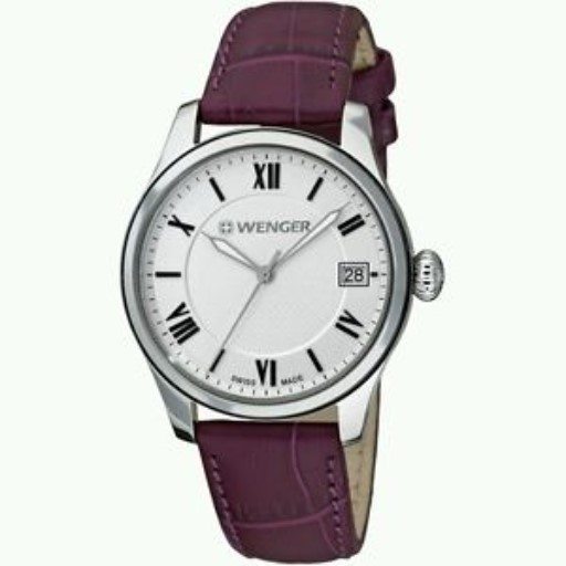 Watches - Ladies Swiss-Made Wenger Watch with Silver Dial and Aubergene Band