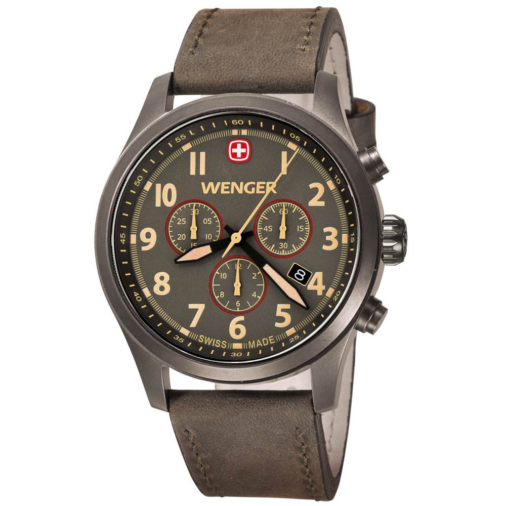 Watches - Wenger Swiss-Made Watch Chronograph Olive Green Dial with Olive Green Strap