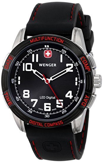 Watches - Wenger Swiss Made Nomad Compass Watch with Black Dial and Black Strap