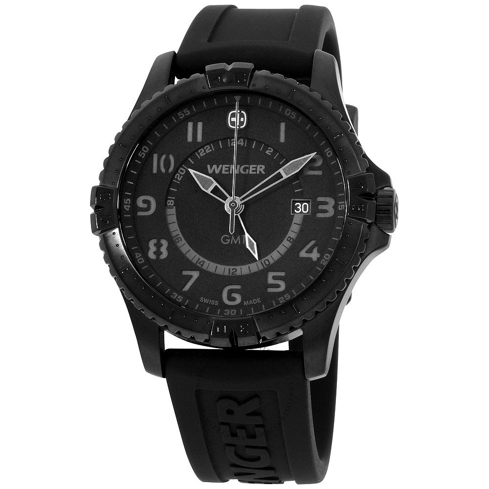 Watches - Wenger Swiss Made Watch with Black DIal and Black Strap Dual Time