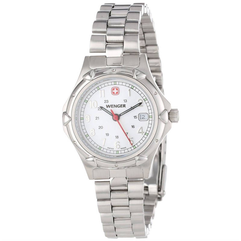 Watches - Lady's Wenger Swiss Made Stainless Steel Watch with White Dial