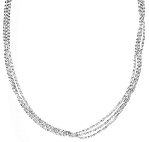 Alwand Vahan Designer Jewelry - Lady's White Sterling Silver Five Strand Rolo 18