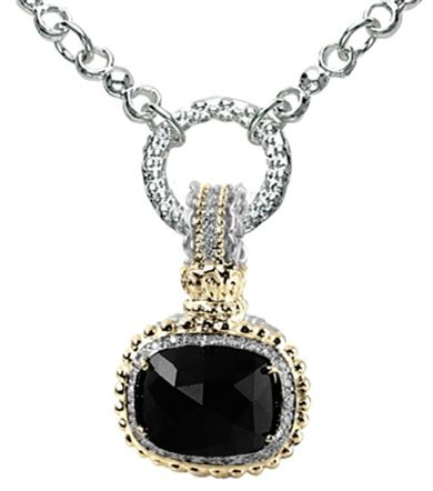 Alwand Vahan Designer Jewelry - Lady's 14Kt Yellow Gold & Sterling Silver Pendant Enhancer Alwan Vahan Designer Jewelry With 5=0.09Tw Round Diamonds And One Cushion Black Onyx