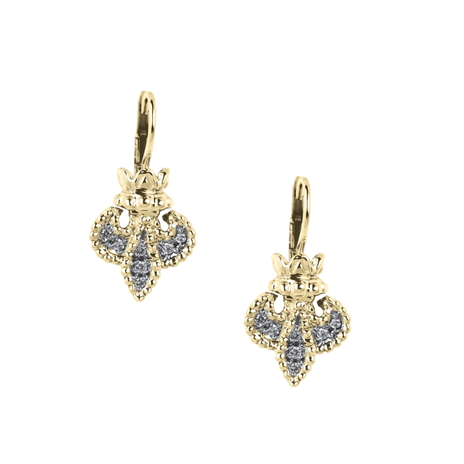 Alwand Vahan Designer Jewelry - Lady's 14Kt Yellow Gold Fluer De Lis Earrings Alwan Vahan Designer Jewelry With 18=0.19Tw Round Diamonds
