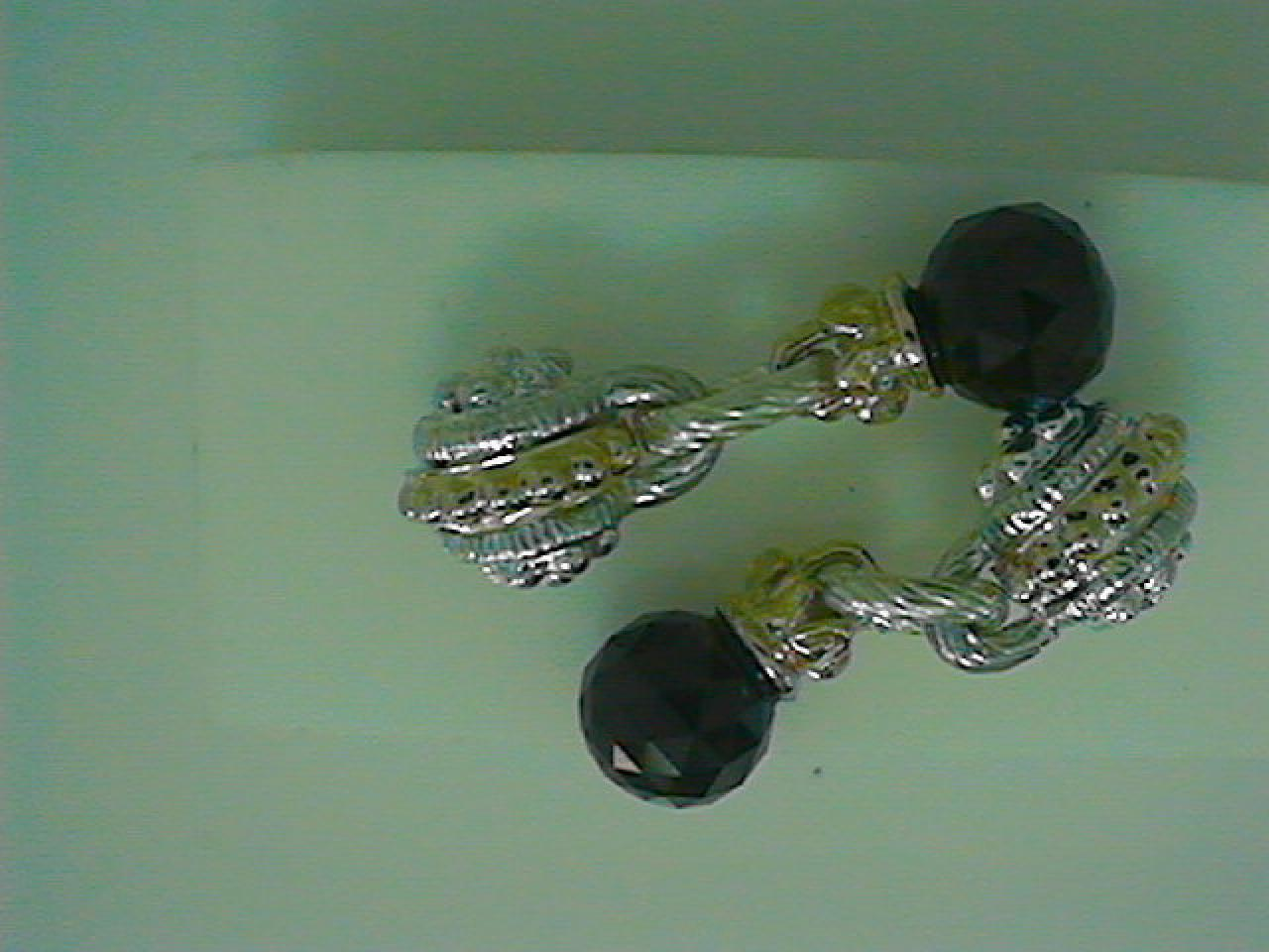 Alwand Vahan Designer Jewelry - 14kt Yellow Gold and Sterling Silver Black Onyx Dangle Alwand Vahan Earrings.