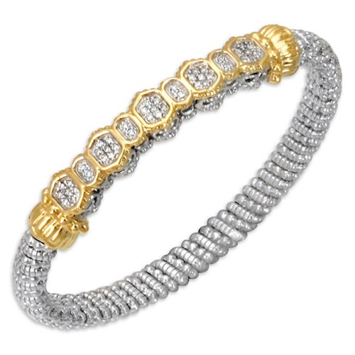 Alwand Vahan Designer Jewelry - Lady's 6 mm 14 Kt Y & SS Alwand Vahan Designer Bracelet With 42=0.25Tw Round Diamonds
