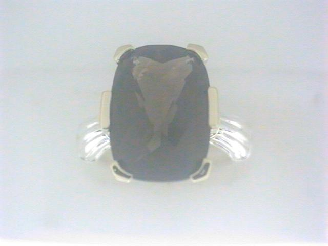 Ring - Ss 18Kt Lorenzo Ring With One Cushion Smoky Quartz