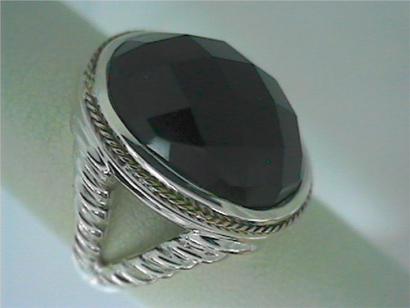 Ring - Sterling Silver and 18kt Yellow Gold Black Agate Greg Anthony Artform Collection Ring