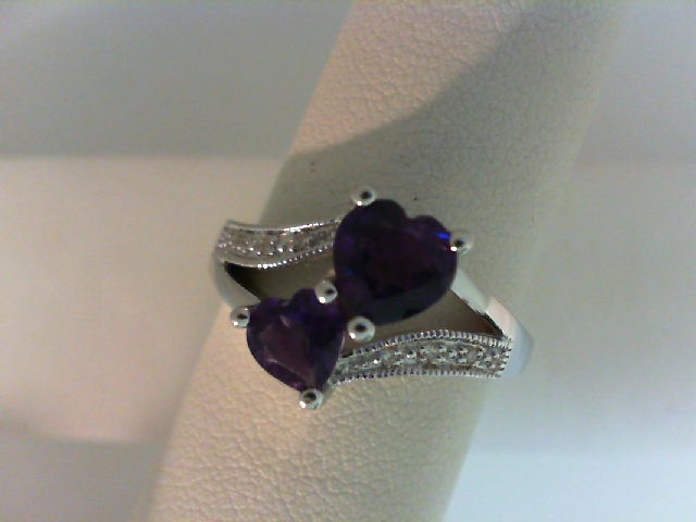 Ring - Sterling Silver Ring With 2=5.00&6.00Mm Heart Amethysts And 6=0.03Tw Round Diamonds