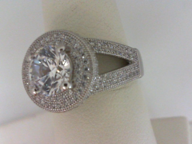 Ring - 18kt White Gold Over Sterling Silver Ring with Simulated Diamonds