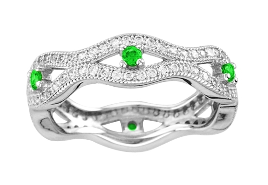 Ring - 18kt White Gold Over Sterling Silver Ring with Simulated Diamonds and Simulated Emeralds