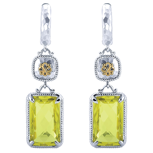 Earrings - Lady's 18Kt Yg & Sterling Silver Lemon Qtz Dangle Earrings