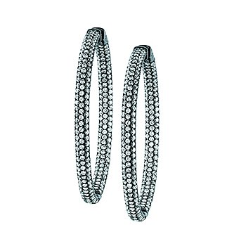 Earrings - Lady's Sterling Silver Large Crystal Pave` Hoop Earrings