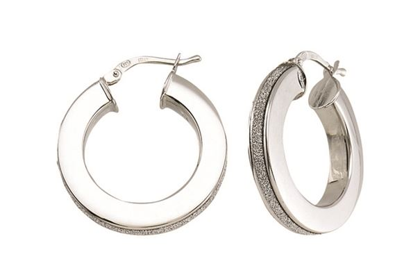 Earrings - Sterling Silver RHD Italian Glitter Thick Hoop Earring