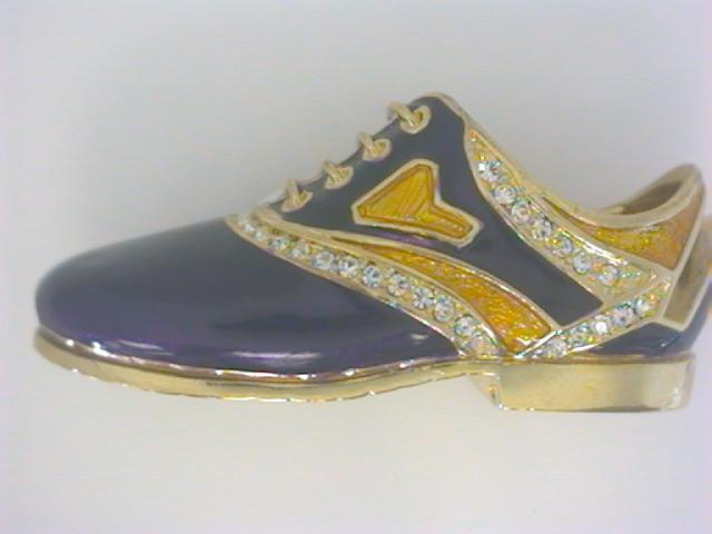 Giftware - Yellow Tone Golf Shoe Cardholder W/ 52 White Swarovski Crystals, Purple And Gold Enamel