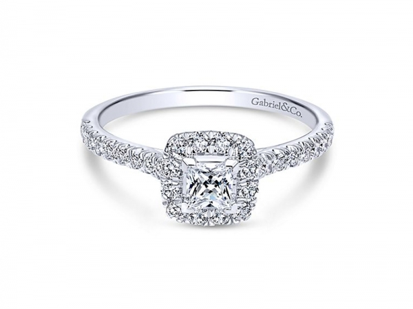 Diamond Engagement Ring - 14kt white gold Gabriel & Co diamond engagement ring with 5/8ctw