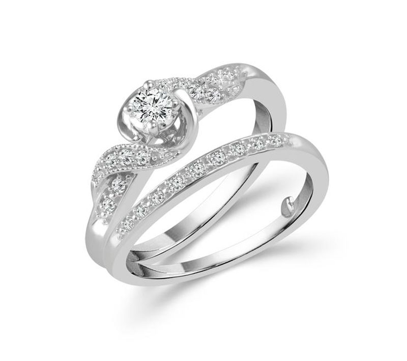 Diamond Engagement Ring - 10kt white gold diamond engagement wedding ring set with 1/4ct total weight