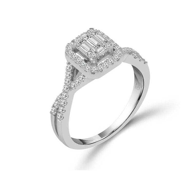 Diamond Engagement Ring - 14kt white gold diamond engagement ring with 5/8ct total weight