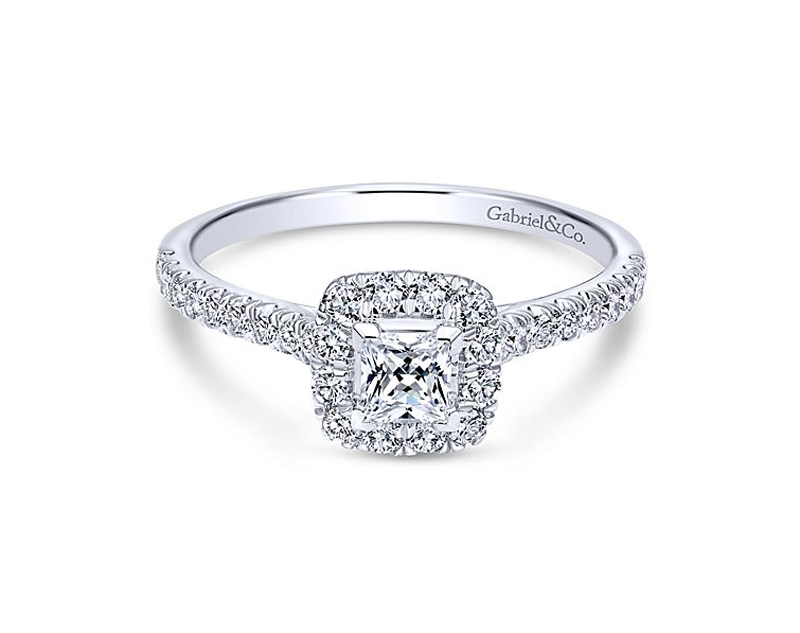 14kt White Gold Diamond Engagement Ring - 14kt white gold Gabriel & Co diamond engagement ring with 5/8ctw