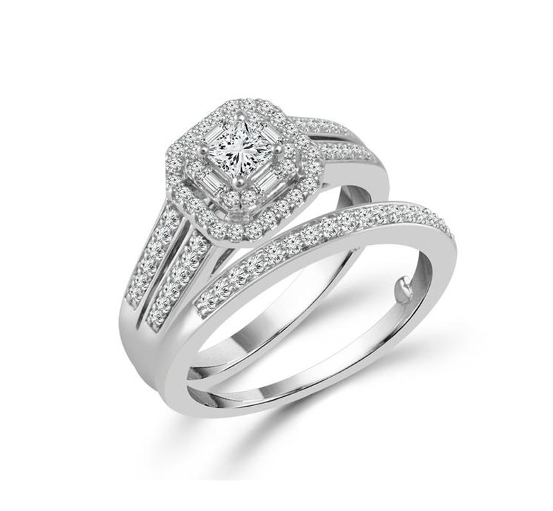 Diamond Engagement Ring - 10kt white gold diamond engagement wedding ring set with 3/4ct total weight