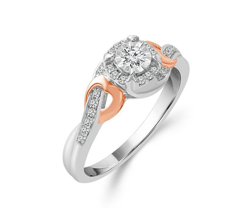 Diamond Engagement Ring - 10kt white & rose gold diamond engagement ring with 1/5ct total weight