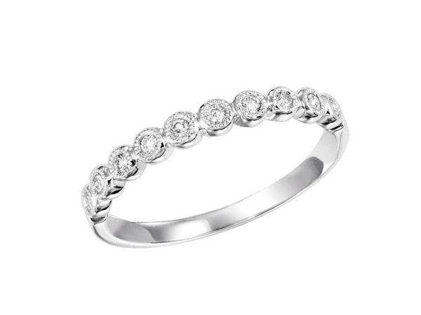 14kt White Gold Diamond Wedding Ring - 14kt white gold diamond ring with .11ctw