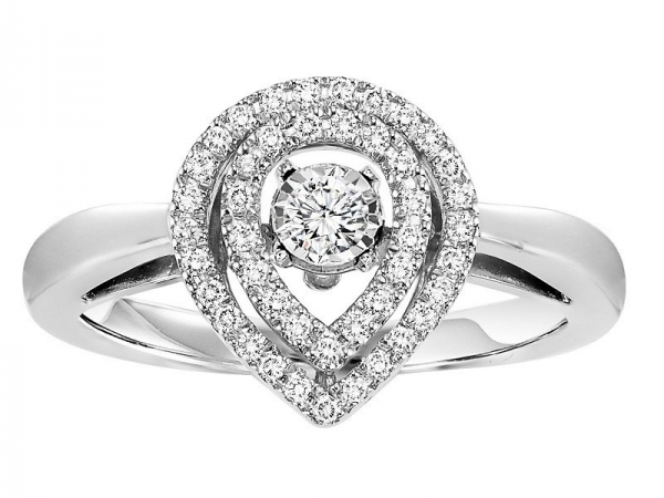 Diamond Anniversary Ring - 14kt white gold Rhythm of Love diamond ring with 1/3ctw