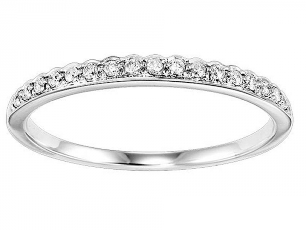 14kt White Gold Diamond Anniversary Ring - 14kt white gold diamond ring with .12ctw