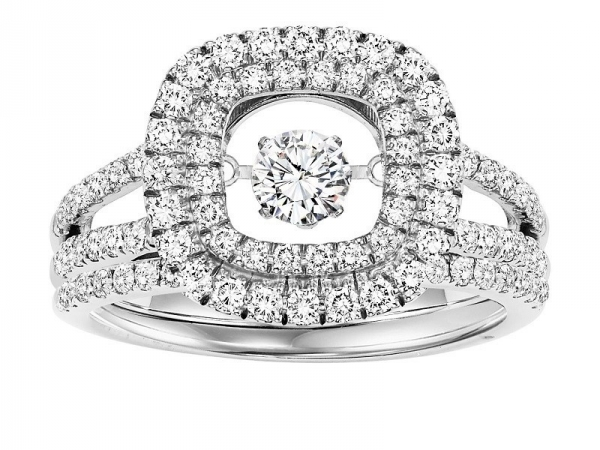 14kt White Gold Rhythm of Love Diamond Ring - 14kt white gold diamond Rhythm of Love ring with 1ctw