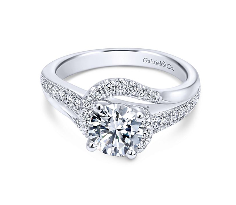 14kt White Gold Diamond Semi-Mount Ring - 14kt white gold diamond semi-mount engagement ring with .37ctw. Center stone not included.