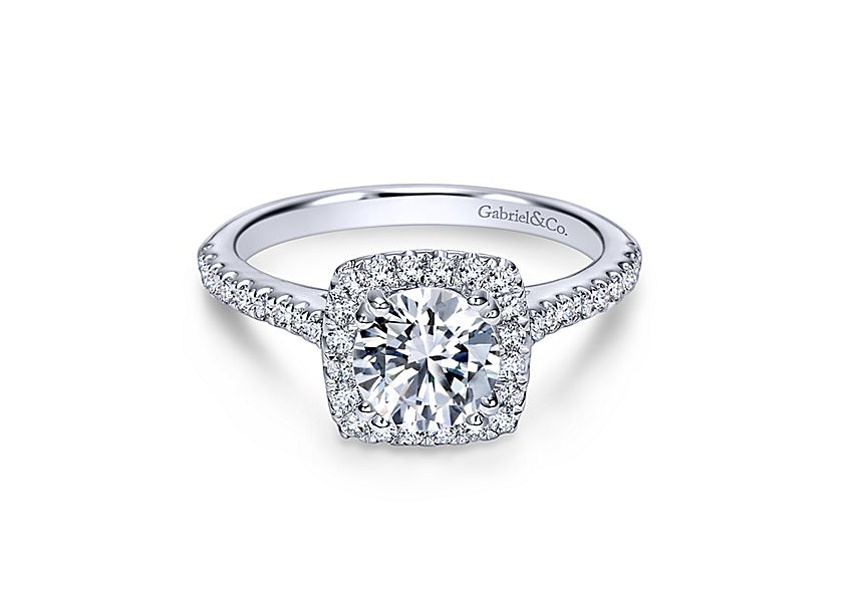 Lyla - 14kt white gold Gabriel & Co diamond semi-mount engagement ring with .39ctw. This contemporary engagement ring is embellished with our brightest diamonds that encircles your center stone with our gorgeous halo. Center stone sold separately.