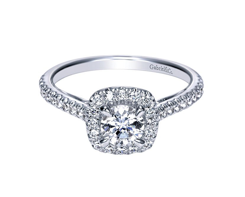 14kt White Gold Diamond Engagement Ring - 14kt white gold Gabriel & Co diamond semi-mount engagement ring with .37ctw. Center stone sold separately.