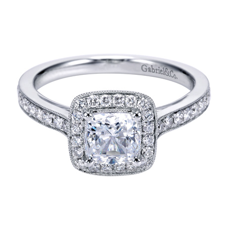 14kt White Gold Diamond Engagement Ring - 14kt white gold Gabriel & Co diamond semi-mount engagement ring with .43ct tw. Center diamond sold separately.