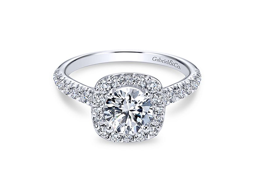 Diamond Semi-Mount Ring - 14kt white gold Gabriel & Co diamond semi-mount engagement ring with .55ct total weight