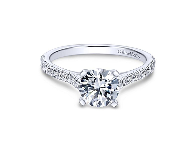 14kt White Gold Diamond Engagement Ring - 14kt white gold Gabriel & Co diamond semi-mount engagement ring with .24ct total weight. Center diamond sold separately.