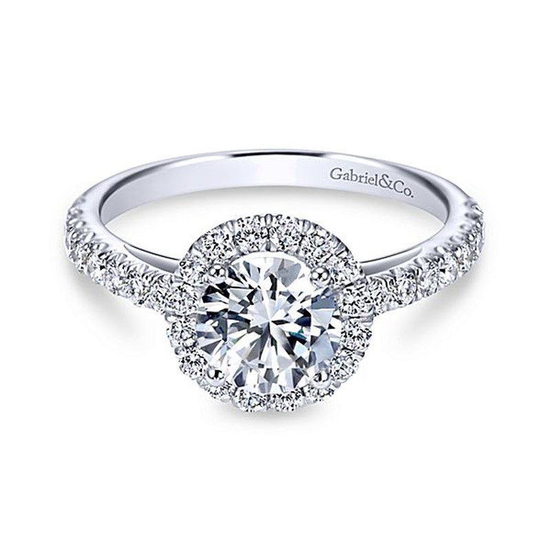 14kt White Gold Diamond Engagement Ring - 14kt white gold Gabriel & Co diamond semi-mount engagement ring with .55ctw. Center diamond not included.