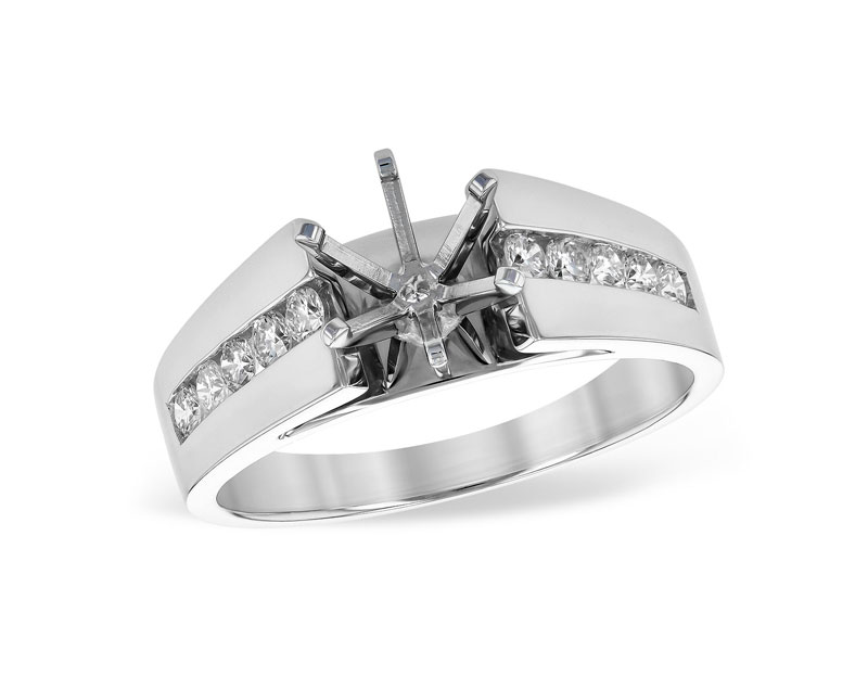 14kt White Gold Diamond Semi-Mount Ring - 14kt white gold diamond semi-mount engagement ring with .33ctw