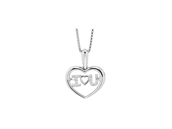 Diamond Necklace - 10kt white gold Rhythm of Love diamond necklace with .05ctw