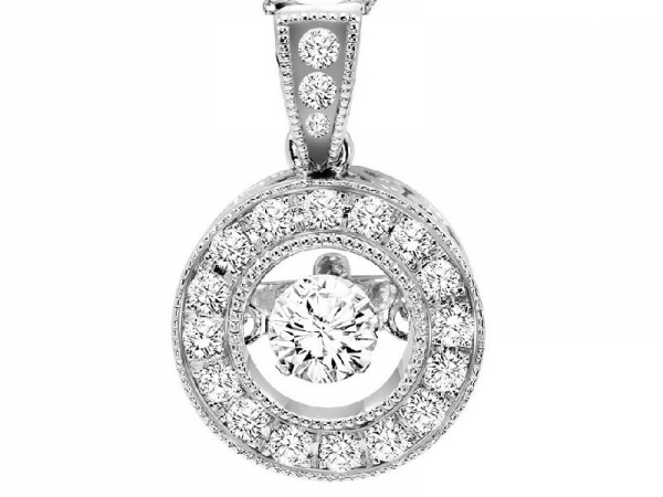 Diamond Necklace - 14kt white gold Rhythm of Love diamond necklace with 1/3ctw